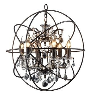 Y-Decor Rustic Black Orb 6-light Chandelier Circular Foyer Light Fixture