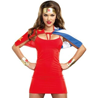 High Quality Adult Costumes Women's Blue, Red and Gold Polyester She's My Hero Costume