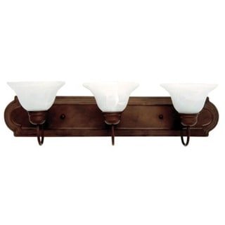 Y-Decor Monica 3-light Dark Brown Finish Vanity Fixture with White Alabaster Glass