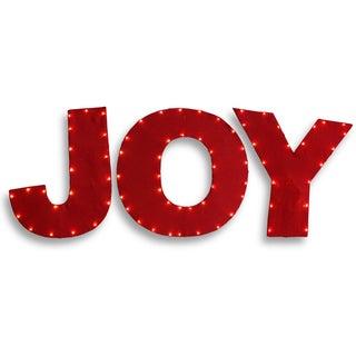 Red Burlap 30-inch Pre-Lit Joy Decoration