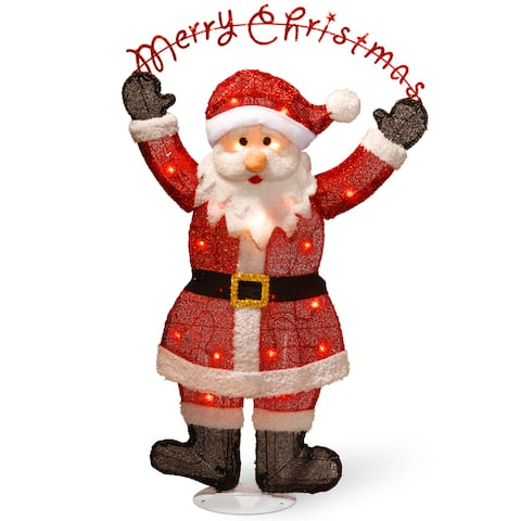 """National Tree Company 36"""" Pre-Lit Silver Fabric Tinsel 2D Santa Clause Holding Sign """"Merry Christmas"""""""