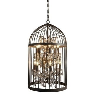 12-light Dark Rustic Finish Crystal Cage Mini Chandelier Light Fixture