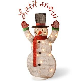 Pre-Lit 36-inch Tinsel Snowman