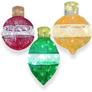Sisal 3-piece Ornament Assortment With LED Lights