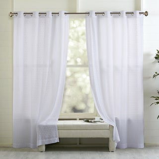 Madison Park Marie Geo Clipped Sheer Window Curtain Panel
