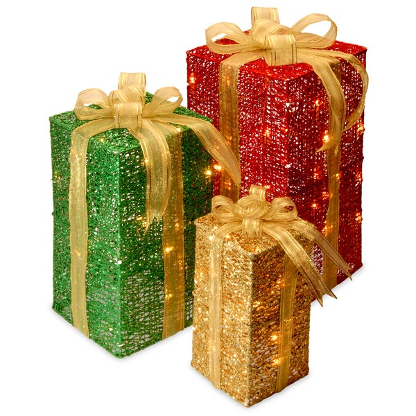 Gift Box Christmas Decorations: Shop Pre-Lit Gift Box Set With 70 Clear Mini Lights