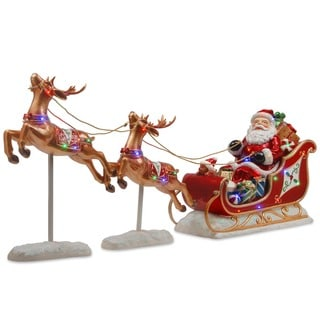 Link to National Tree Company Holiday Christmas Decorative Santa's Sleigh and Reindeer Assortment Similar Items in Christmas Decorations
