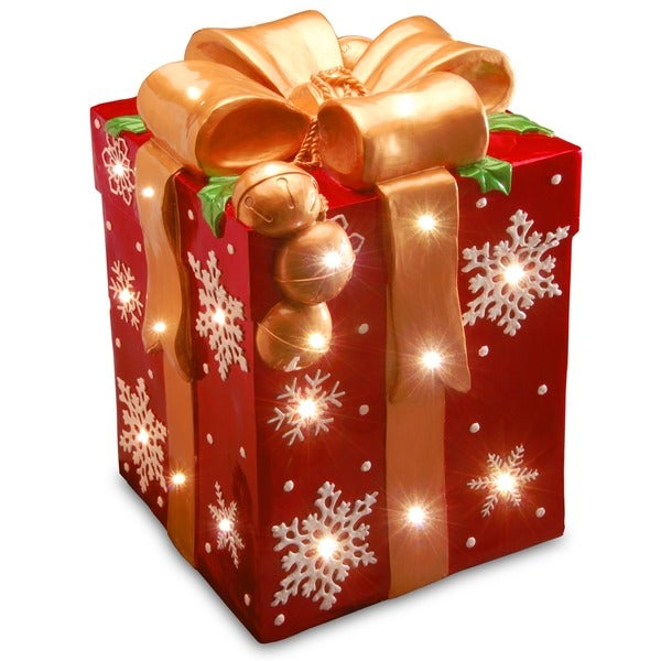 21 inch pre lit gift box decoration