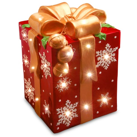 21-inch Pre-lit Gift Box Decoration