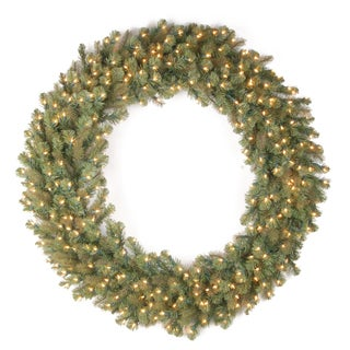 48-inch Downswept Douglas Wreath with Warm White LED Lights