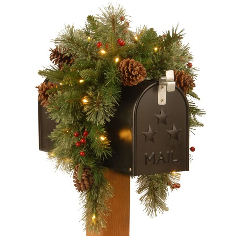 36-inch Colonial Mailbox Swag With Warm White Battery Operated LED Lights