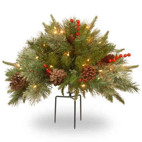 """National Tree Company 18"""" Colonial Urn Filler with Battery Operated Warm White LED Lights"""
