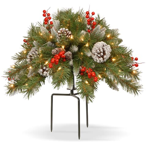 """National Tree Company 18"""" Frosted Berry Urn Filler with Battery Operated Warm White LED Lights"""