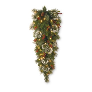 48-inch Wintry Pine Teardrop With Clear Lights