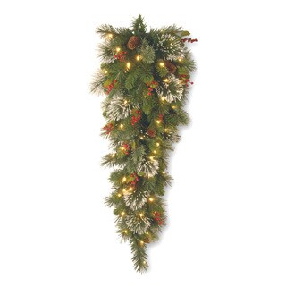 Wintry Pine Slim 36-inch Teardrop Swag with Battery-operated Warm White LED Lights