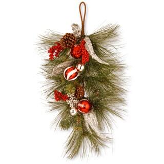Green/Red/Silver 30-inch Teardrop-shaped Christmas Wreath