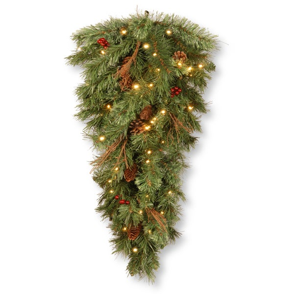 "National Tree Company 36"" Glistening Pine Teardrop with Battery Operated Warm White LED Lights"