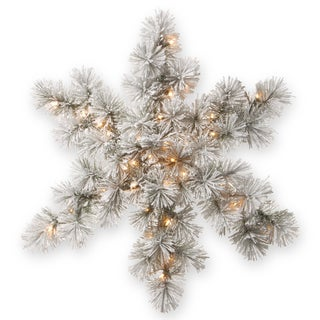 White 32-inch Snowy Bristle Pine Snowflake with LED Lights