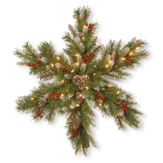 30-inch Faux Frosted Berry With Battery-operated Warm White LED Lights Snowflake Wreath