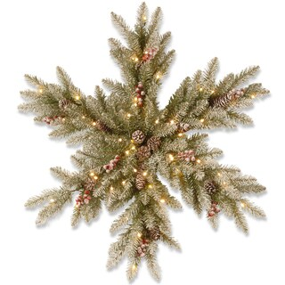 Dunhill Fir Snowy 32-inch Warm White Battery-operated LED-lit Snowflake