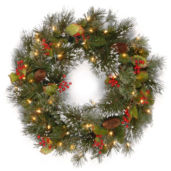 Shop Green/Multicolored Artificial 24-inch Wintry Pine Wreath with Clear Lights - Green - Free Shipping On Orders Over $45 - Overstock - 12494199