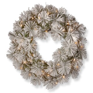 Snowy Bristle 24-inch Pine Wreath with Battery Operated Warm White LED Lights