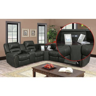 Nathanial Home Amelia Ported Grey Bonded Leather Sectional