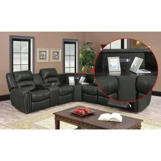 leather living room sectionals. Nathanial Home Amelia Ported Grey Bonded Leather Sectional Sofas For Less  Overstock com