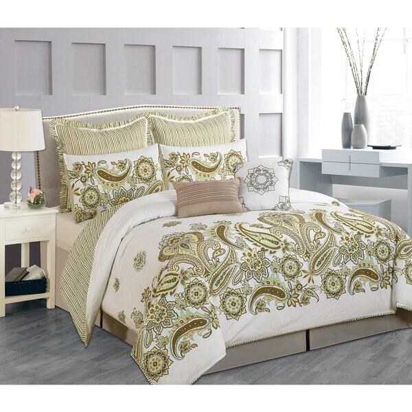 Paisley Full Sized Taupe 8-Piece Oversized Comforter Set