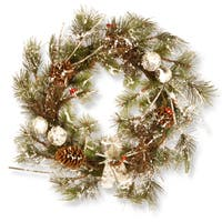 Snow-flocked Evergreen Branch and Red Berries 24-inch Artificial Christmas Wreath with Pinecones