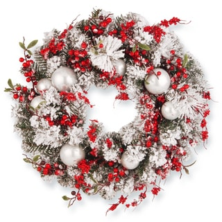 "Link to 24in. Red/White Artificial Ornament Christmas Wreath - 24"" Similar Items in Christmas Decorations"
