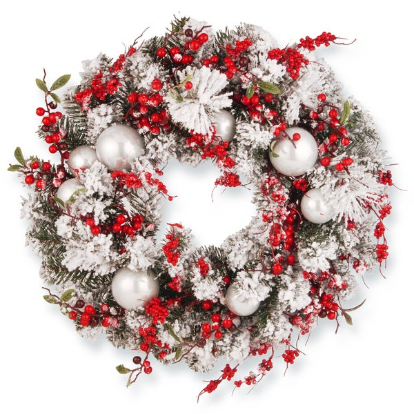 Red White 24 Inch Artificial Christmas Wreath