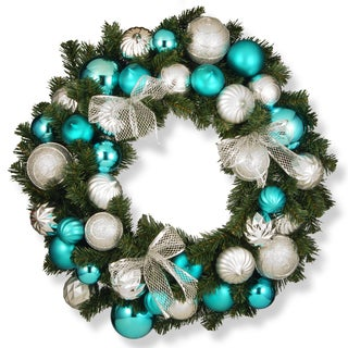 30-inch Silver and Blue Ornament Wreath