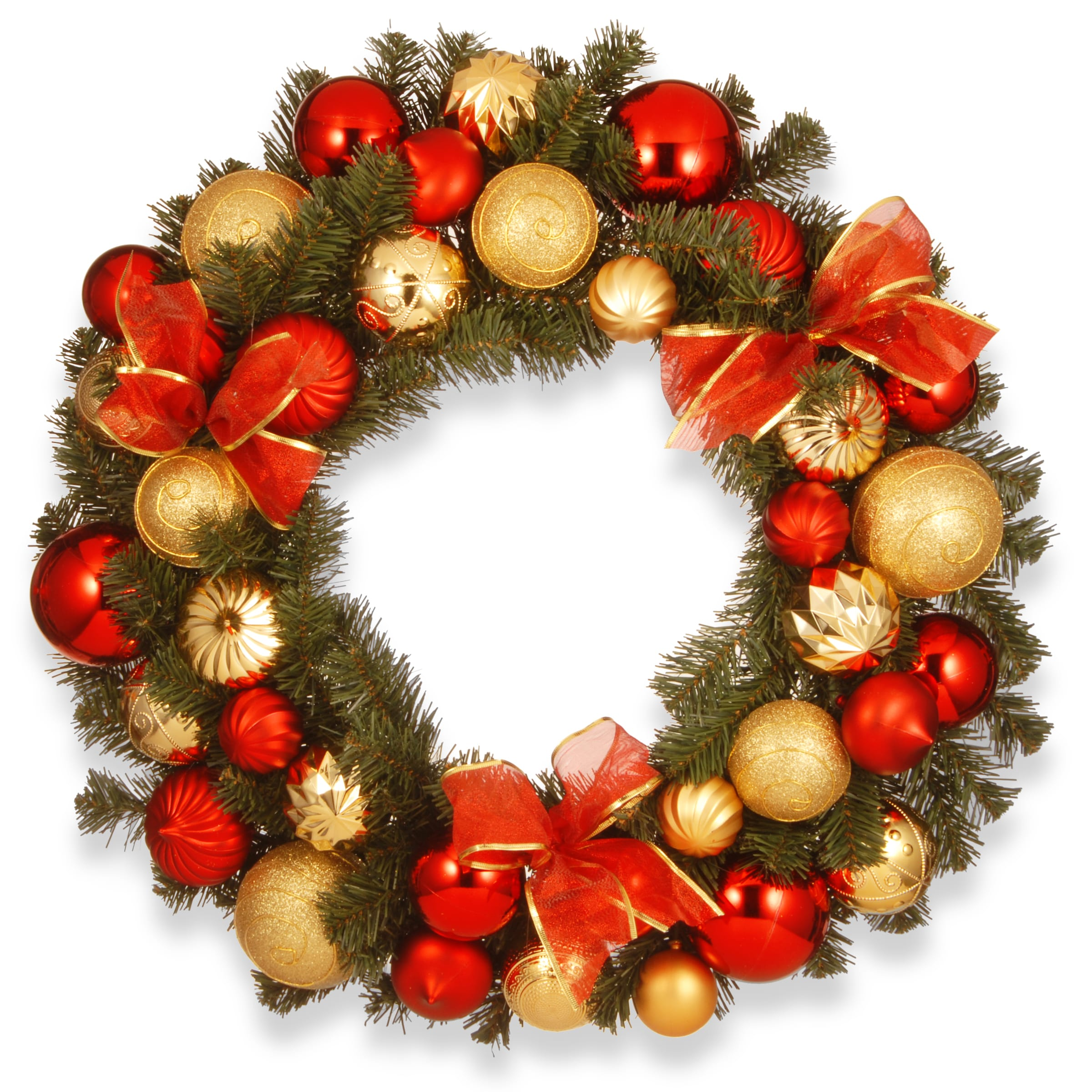 National Tree 6 Foot Gold and Red Mixed Ornament Garland RAC-16002