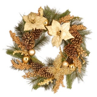 "24"" Gold Poinsettia Wreath"