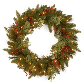 24-inch Classical Collection Wreath with Battery-operated Warm White LED Lights