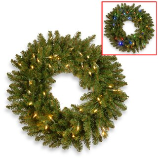 Kingswood Fir 24-inches Wreath with 50 Battery-operated Dual Color LED Lights
