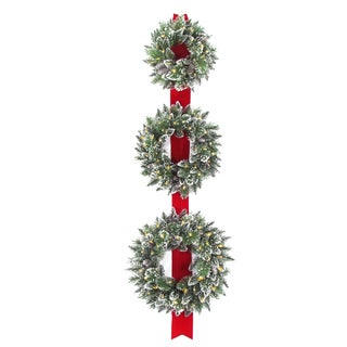 77-inch Glittery-bristle Triple-wreath Door Hang with Battery-operated Warm White LED Lights