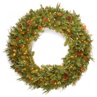 Decorative Collection 48-inch Faux Juniper/Pine Mix Wreath With 200 Warm White LED Lights