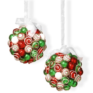 Red/Green/White Poly-foam 6-inch Ornament Hanging Balls Set