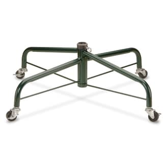 Black Metal 32-inch Rolling Tree Stand with 4 Wheels