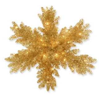 Champagne Tinsel 32-inch Snowflake with Battery-operated Warm White LED Lights