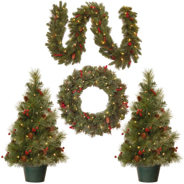 National Tree Company Christmas Cones and Berries Promotional Assortment with Battery Operated LED Lights. Opens flyout.