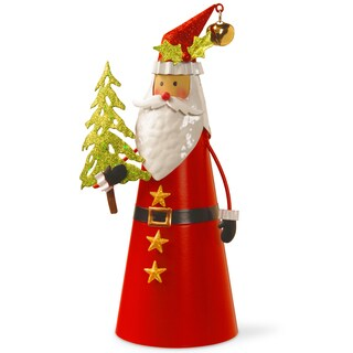 Bright Gloss Metal and Wire 12-inch Handcrafted Santa Character