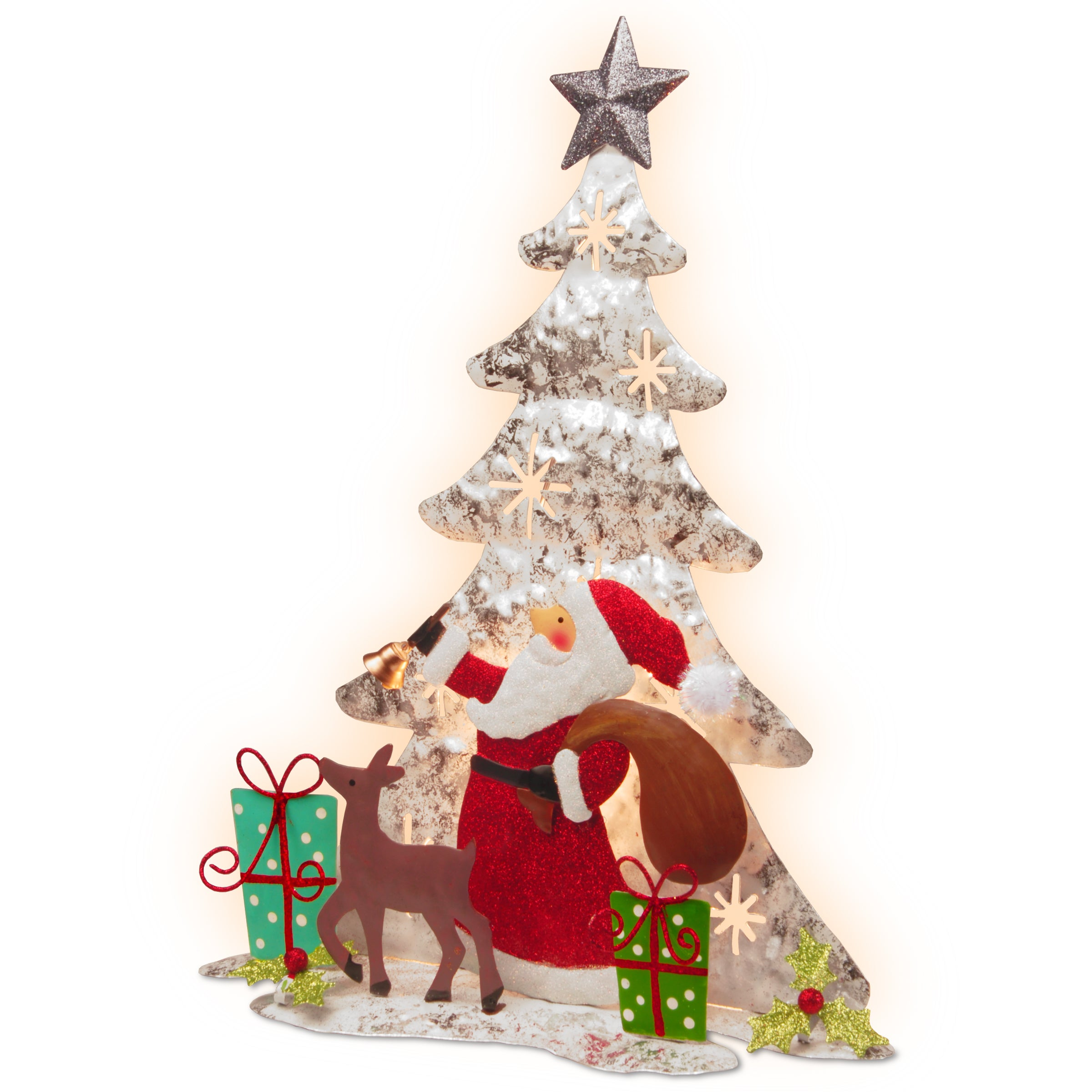 National Tree 16-inch Lighted Tree Santa Scene (RED, Whit...