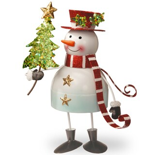 Multicolor Metal 10-inch handcrafted Bobble Snowman