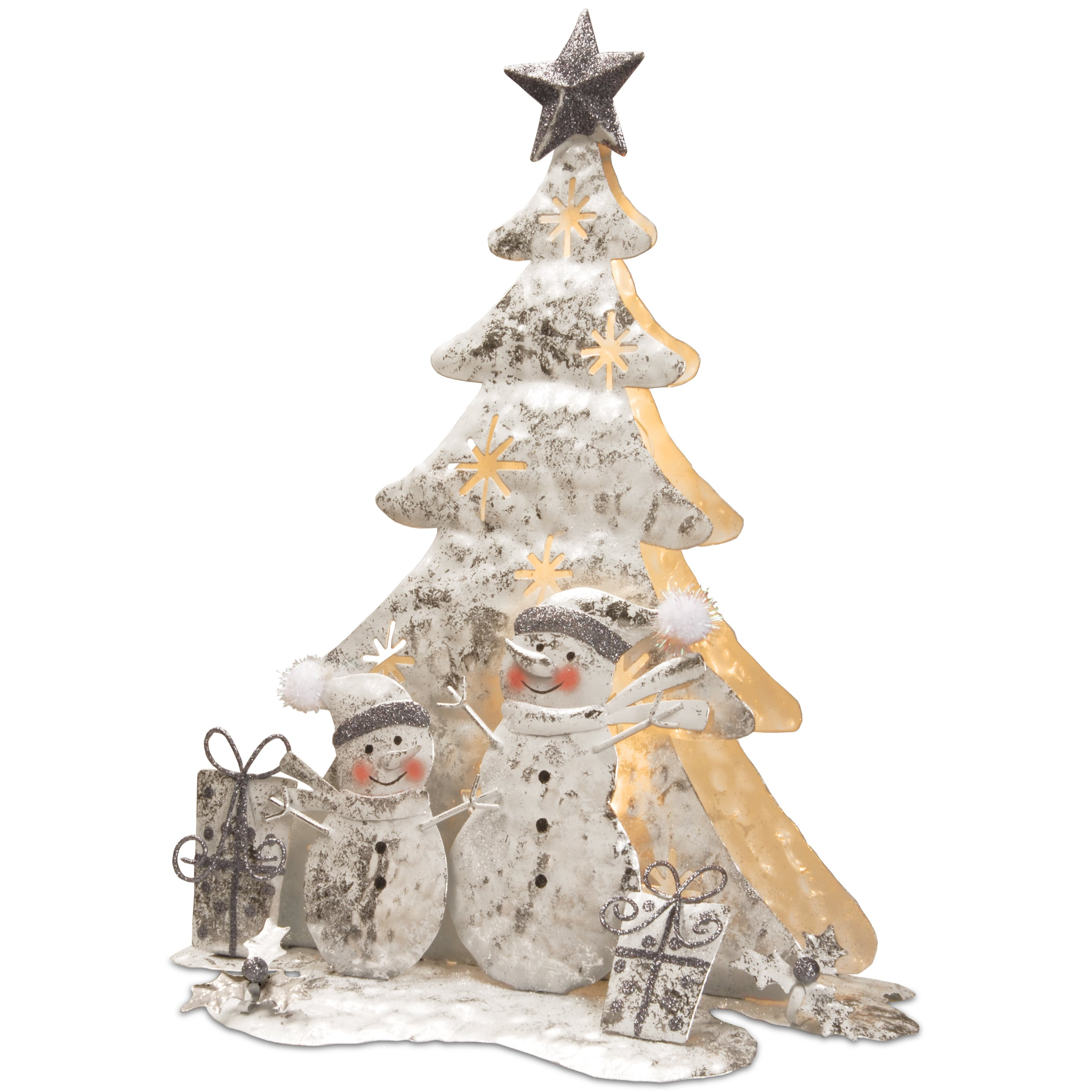 National Tree 16-inch Lighted Tree Snowman Scene (Silver,...