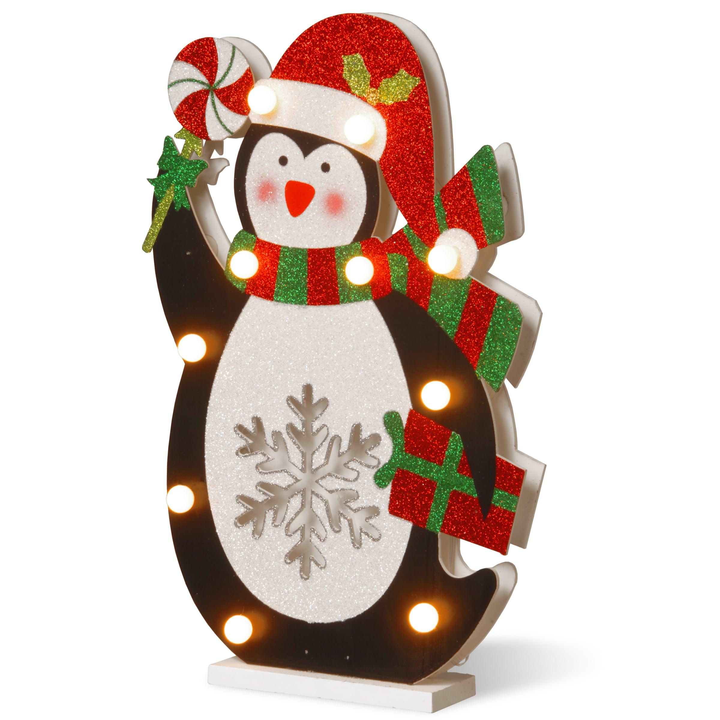 National Tree Pre-lit 17-inch Wooden Penguin (Black, Whit...