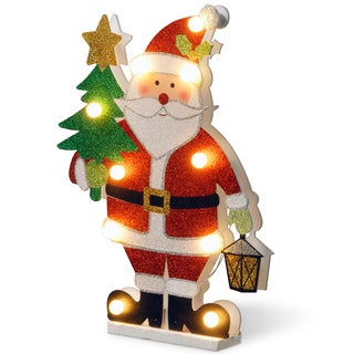 Pre-lit 17-inch Wooden Santa