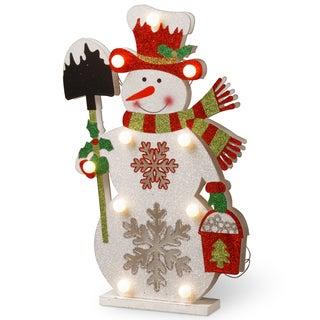 Pre-Lit LED 17-inch Wooden Snowman